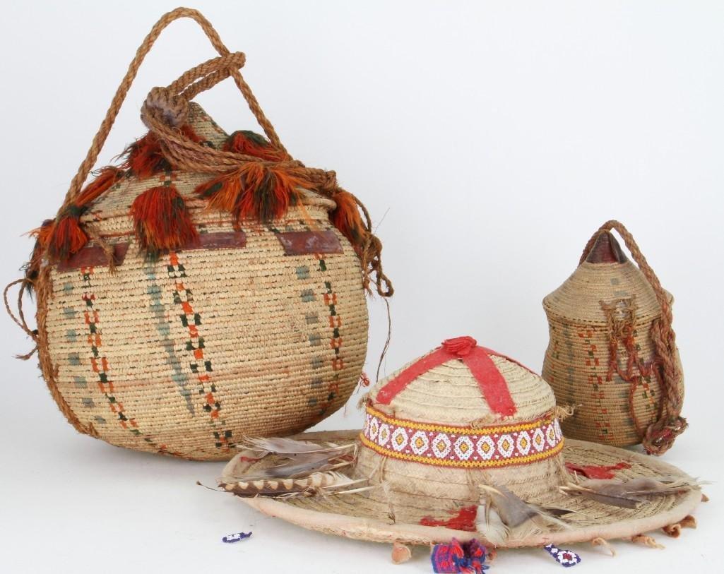 Three ethnographic basketry items