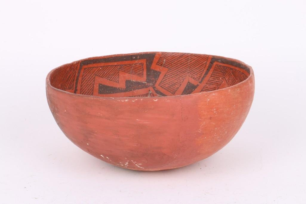 A Wingate black-on-red bowl - 2