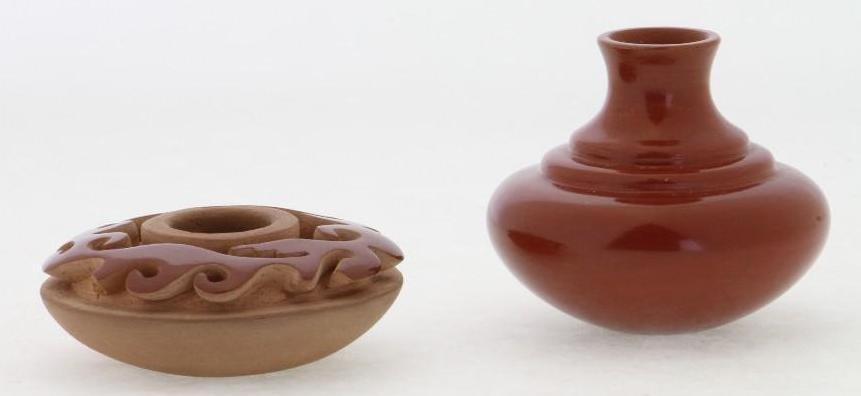 Two Santa Clara miniature jars