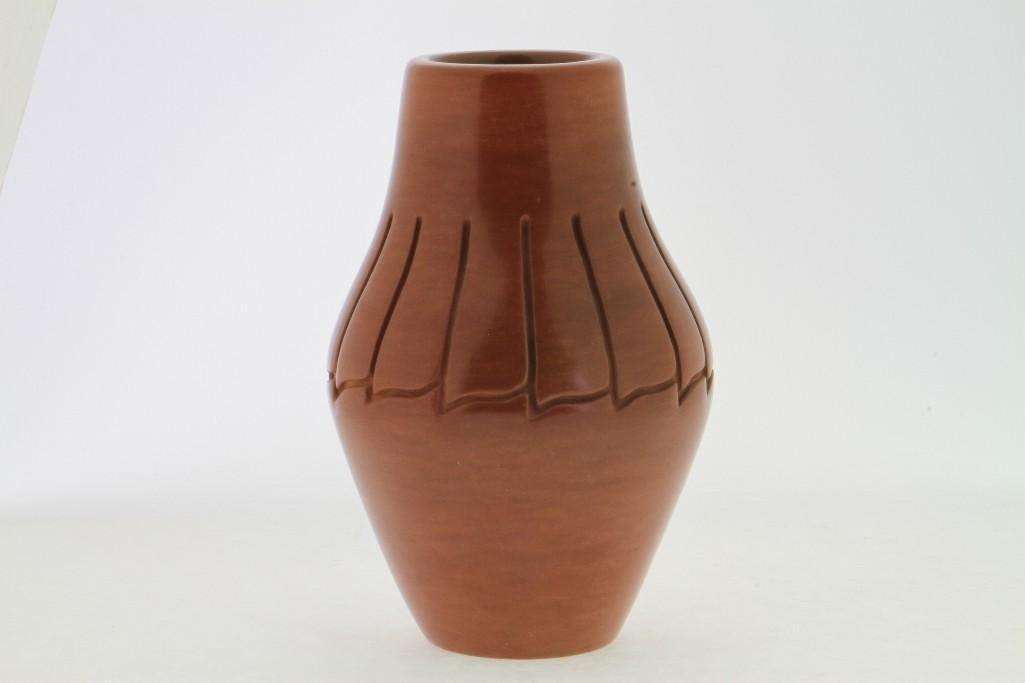 Santa Clara carved redware vase
