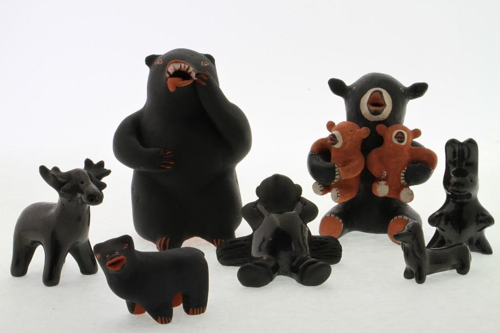 Seven Pueblo animalitos and other figures