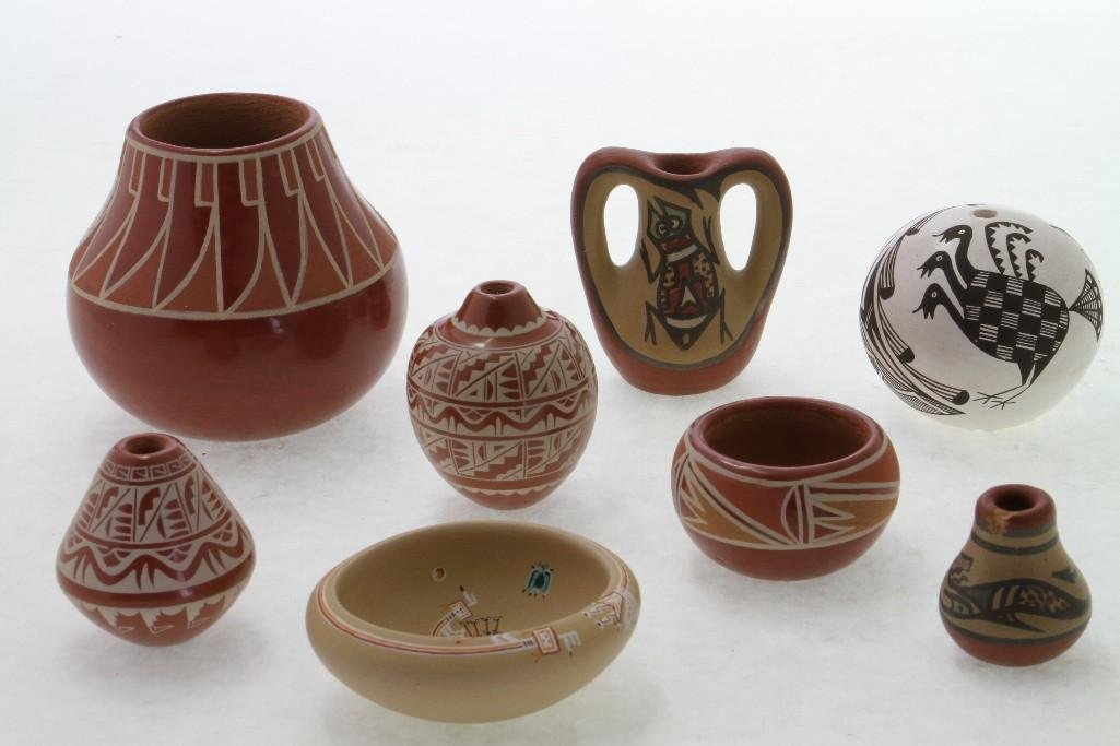 Eight Southwest pottery miniatures