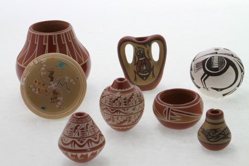 Eight Southwest pottery miniatures - 2