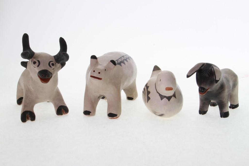 Four Cochiti animal figures