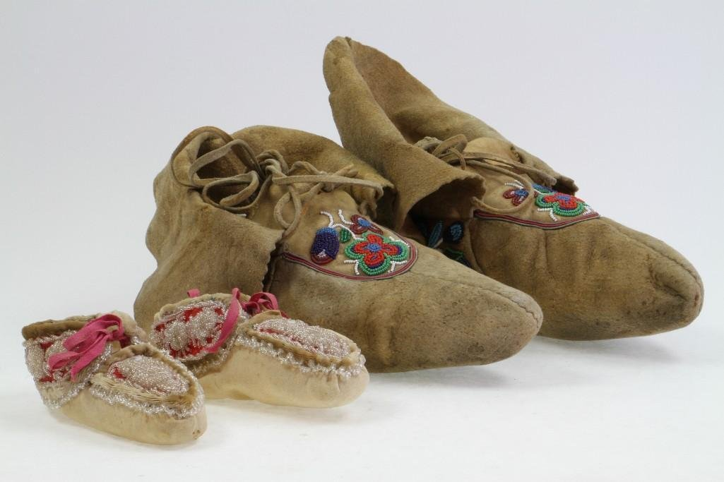 Two pairs of beaded moccasins