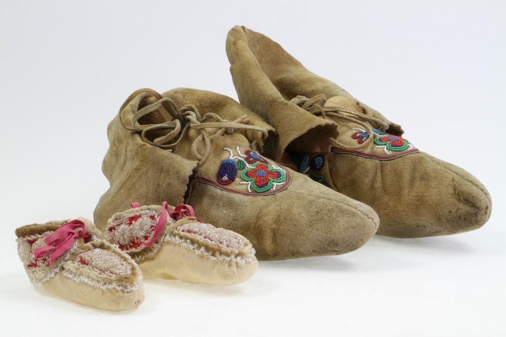 Two pairs of beaded moccasins - 2