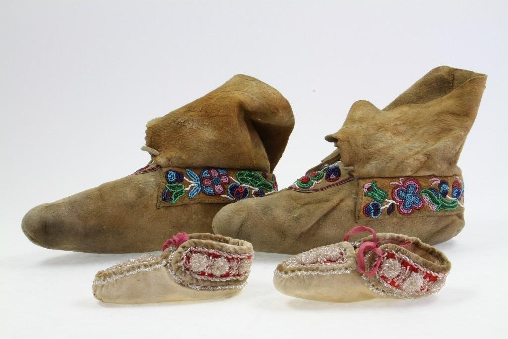 Two pairs of beaded moccasins - 3