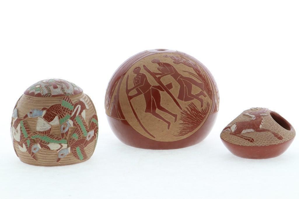 Three Santa Clara sgraffito miniatures