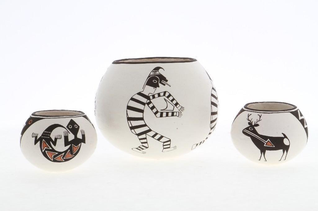 Three Acoma miniature bowls