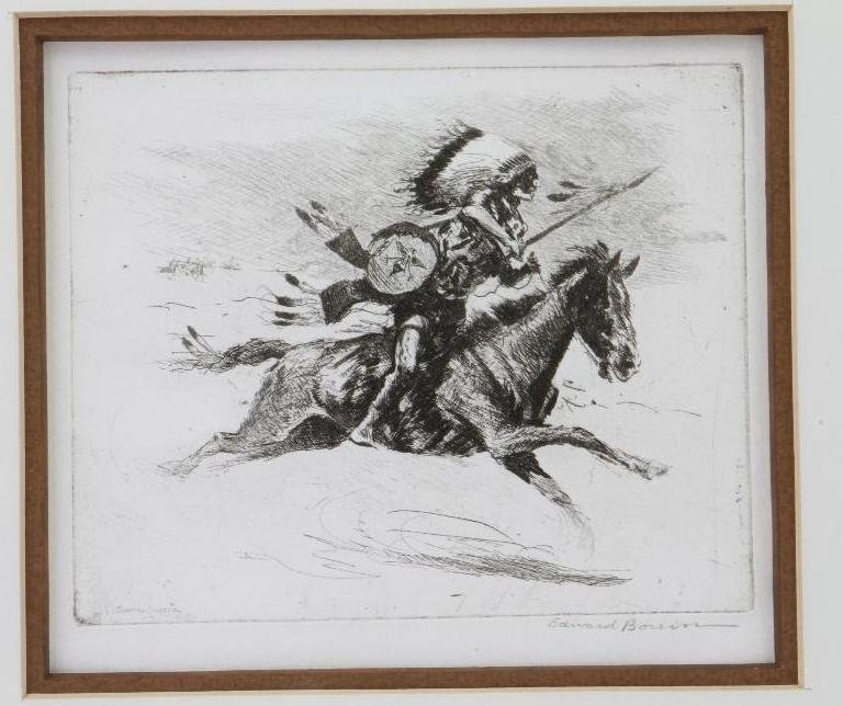 Three Edward Borein etchings - 7
