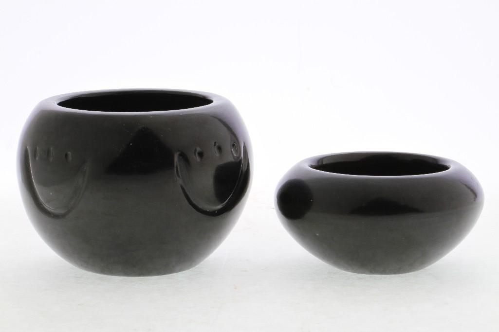 Two Santa Clara blackware bowls