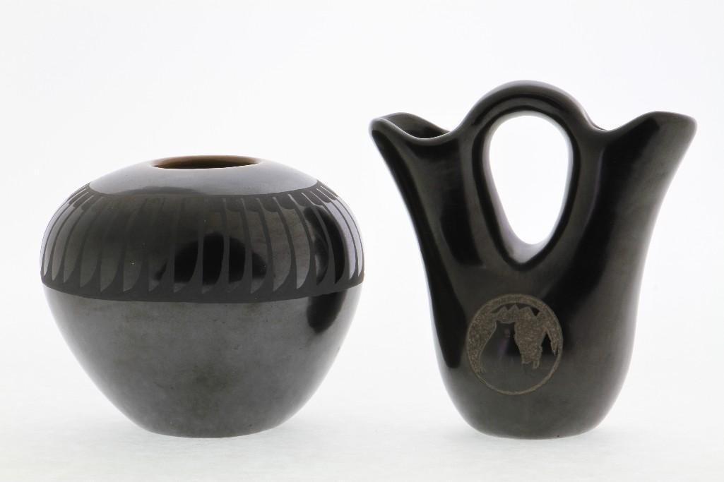 Two Pueblo blackware vessels