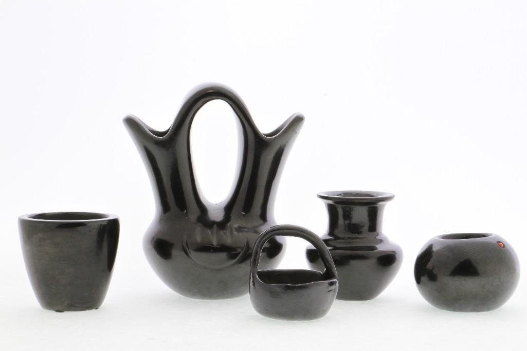 Five Pueblo blackware vessels