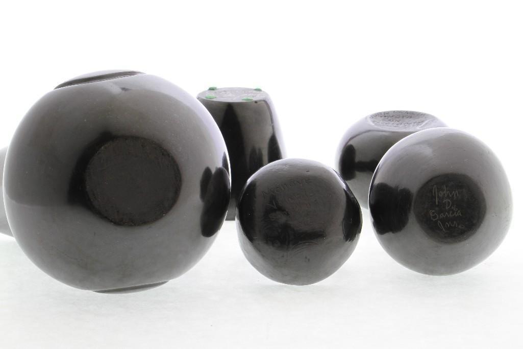 Five Pueblo blackware vessels - 4