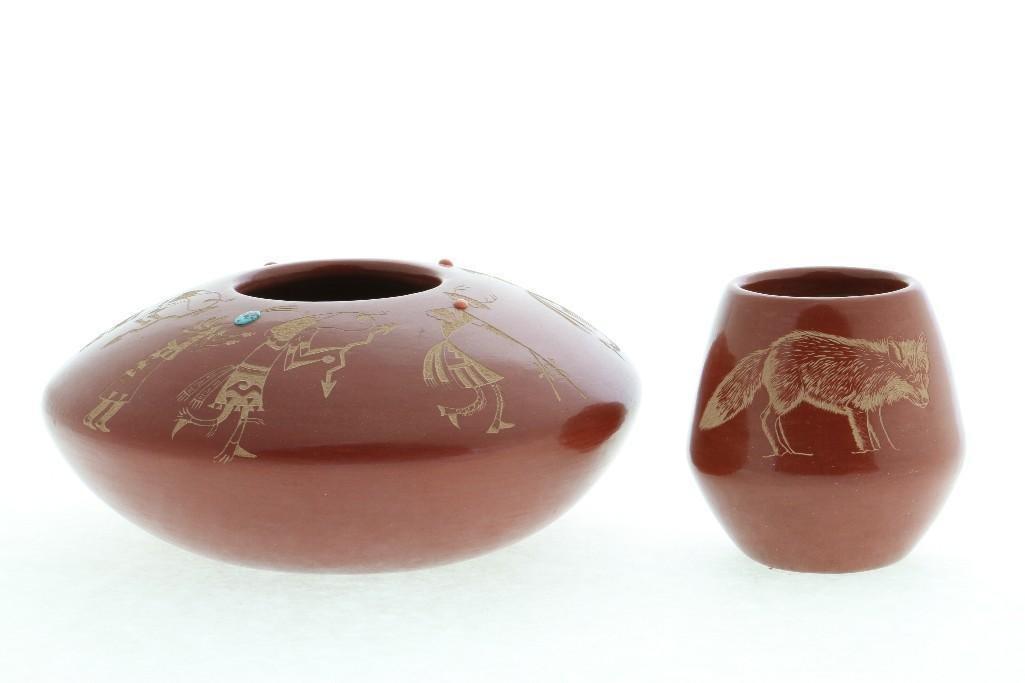 Two Santa Clara redware sgraffito jars