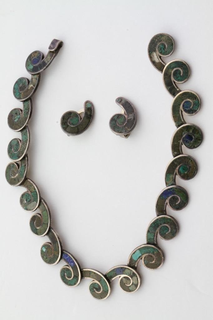 Mexican inlay necklace and matching earrings