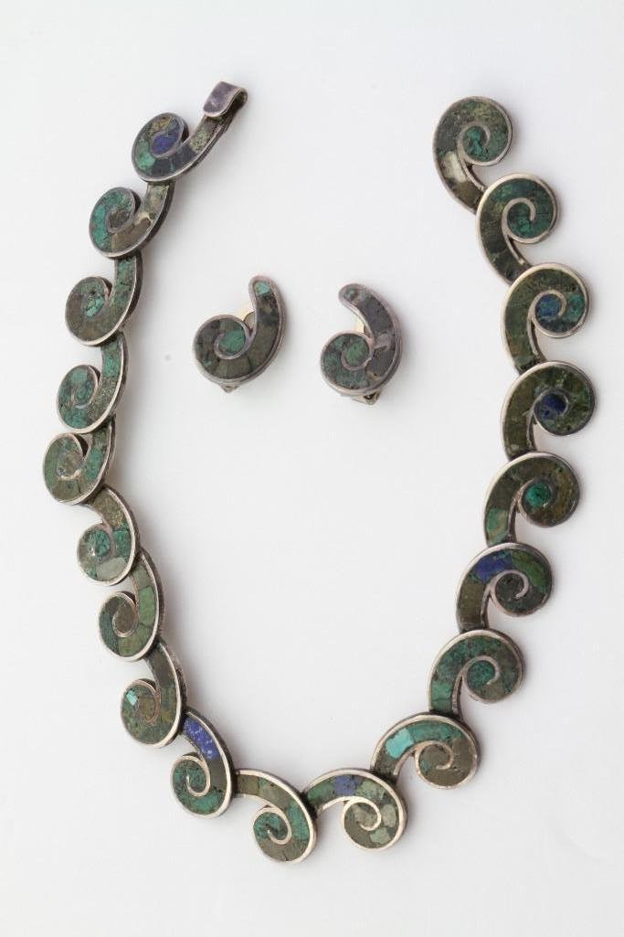 Mexican inlay necklace and matching earrings - 2