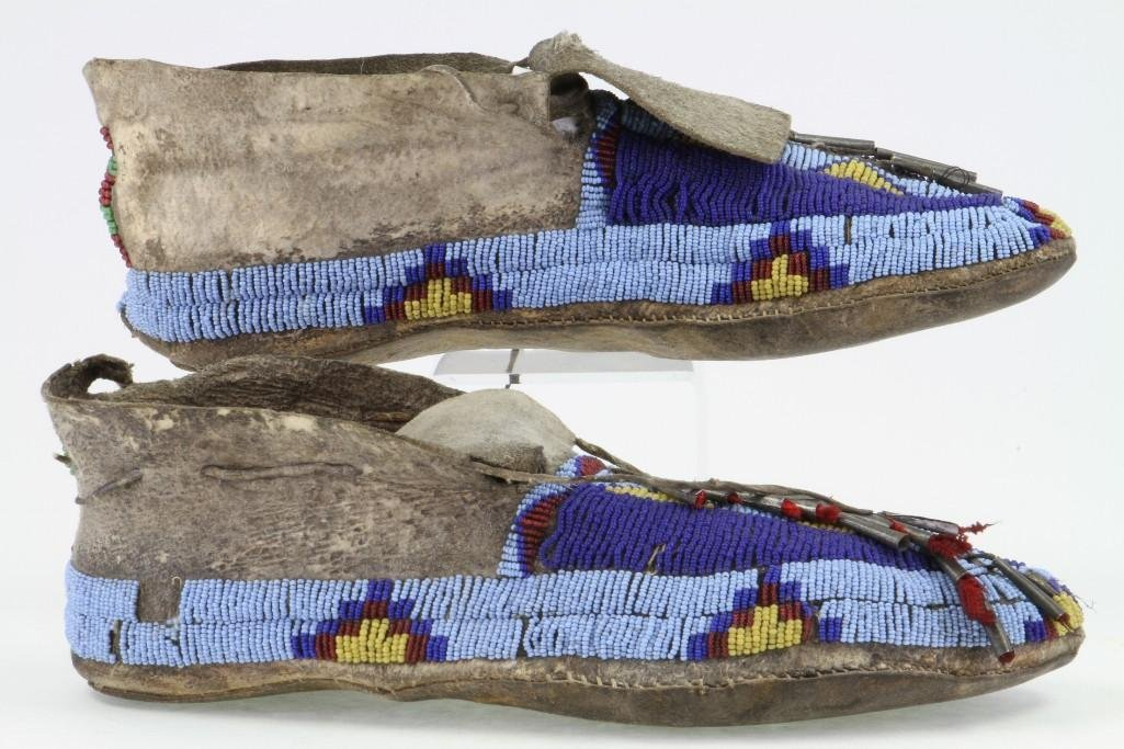 Pair of Cheyenne beaded moccasins