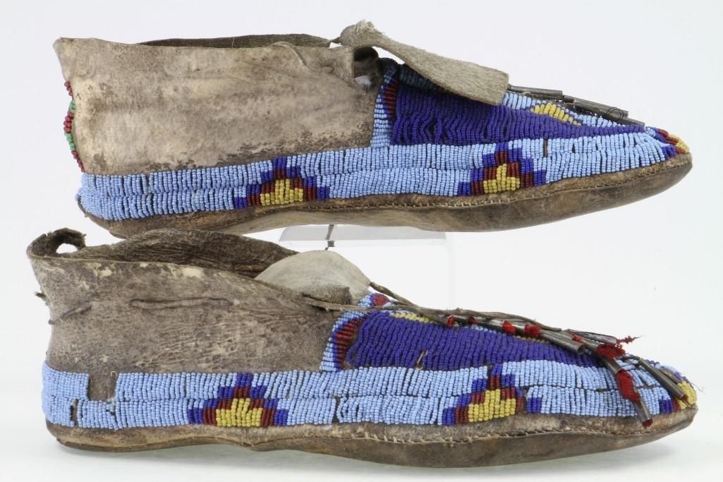 Pair of Cheyenne beaded moccasins