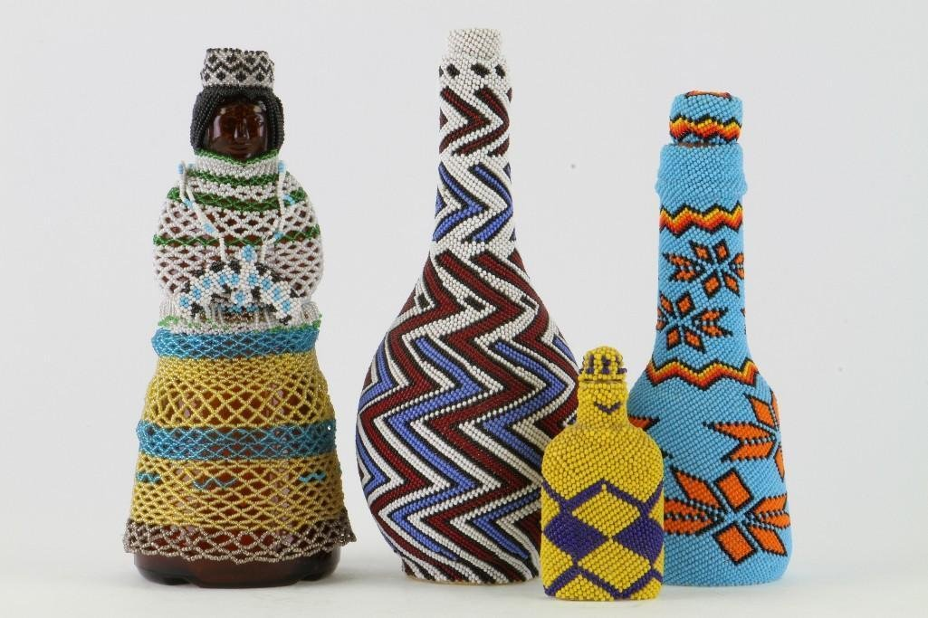 Four beaded glass containers - 2