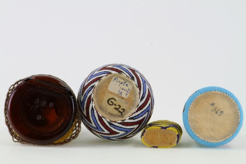 Four beaded glass containers - 4