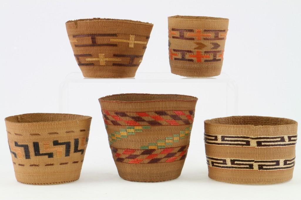 Five Tlingit baskets