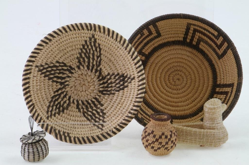 Five Southwest basketry items