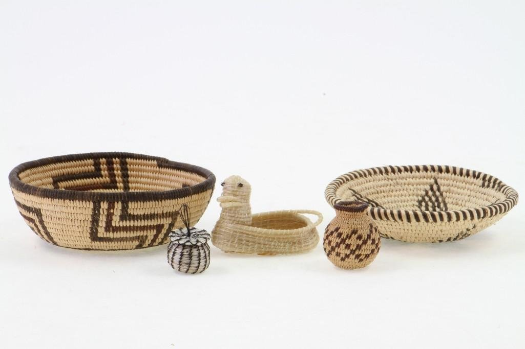 Five Southwest basketry items - 2