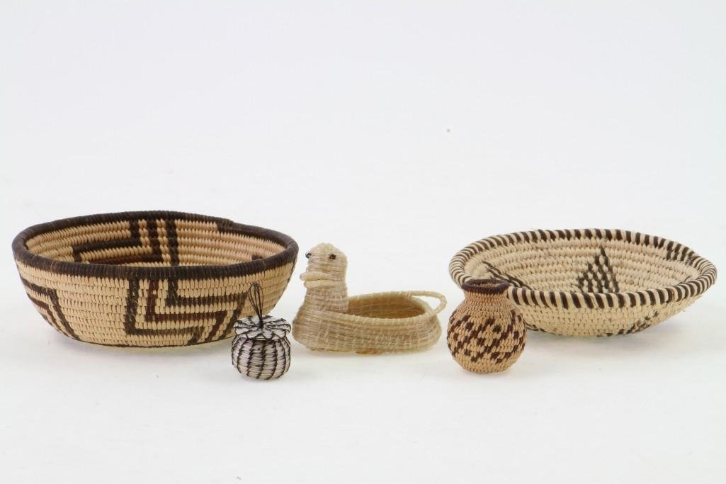 Five Southwest basketry items - 3