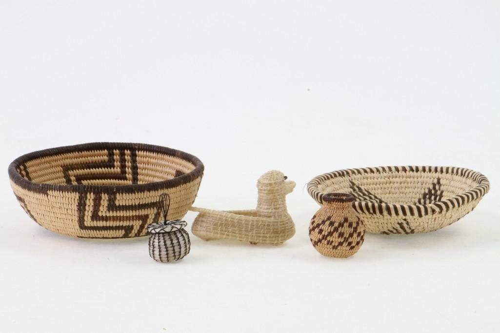 Five Southwest basketry items - 4
