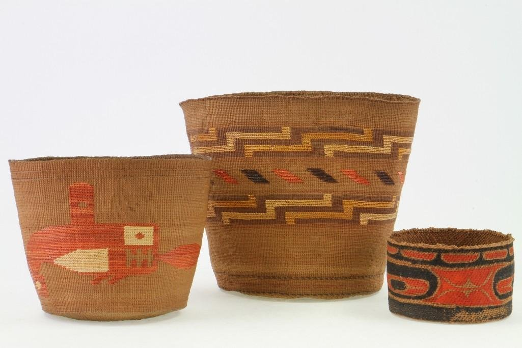 Three Northwest polychrome baskets