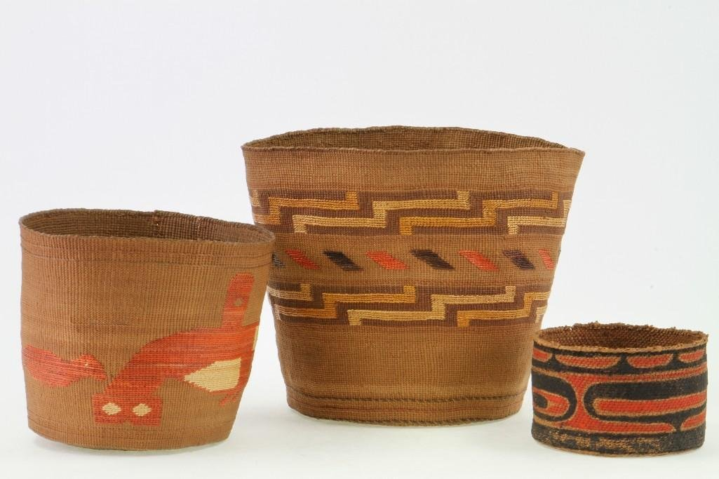 Three Northwest polychrome baskets - 2