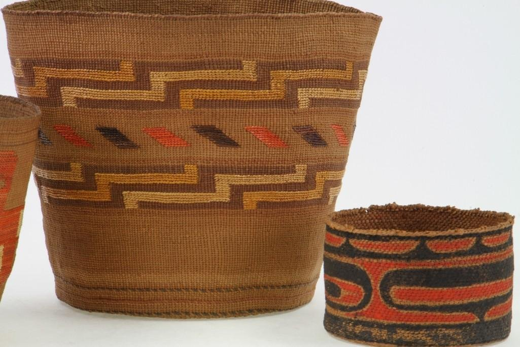 Three Northwest polychrome baskets - 3