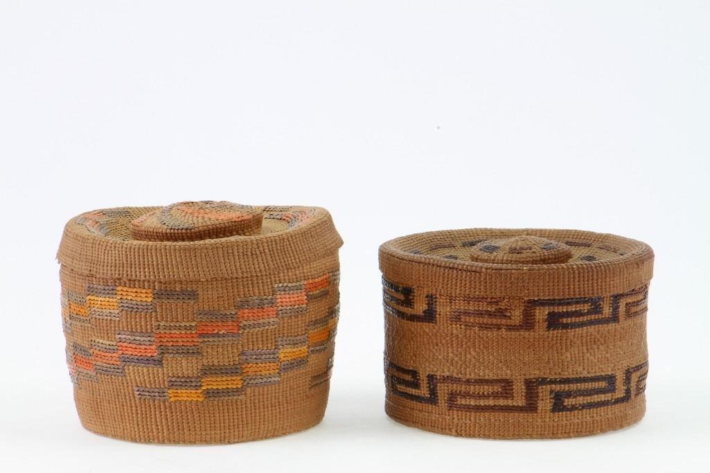 Two Tlingit lidded baskets
