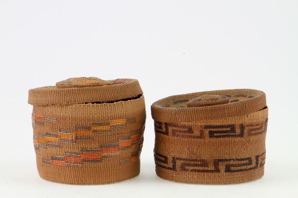 Two Tlingit lidded baskets - 3