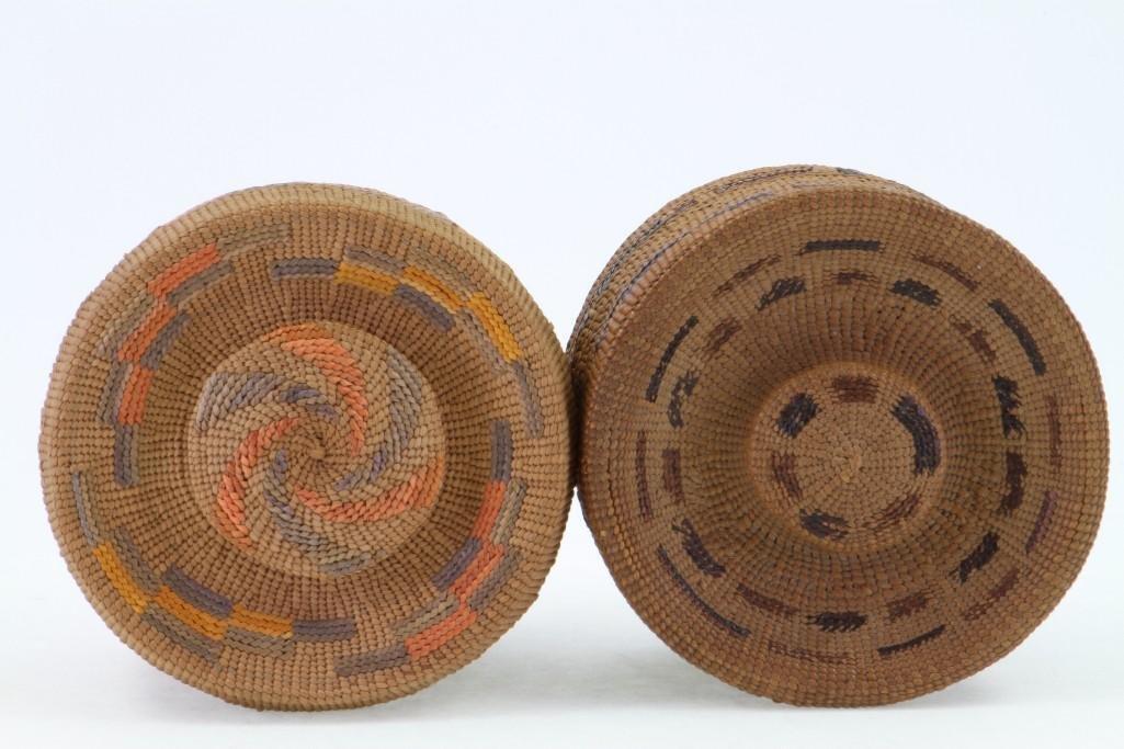 Two Tlingit lidded baskets - 5