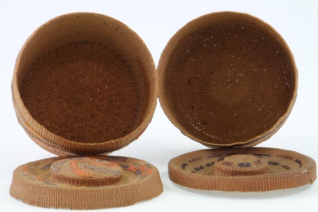 Two Tlingit lidded baskets - 6