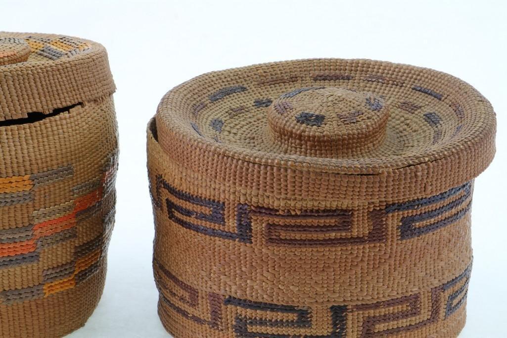 Two Tlingit lidded baskets - 7