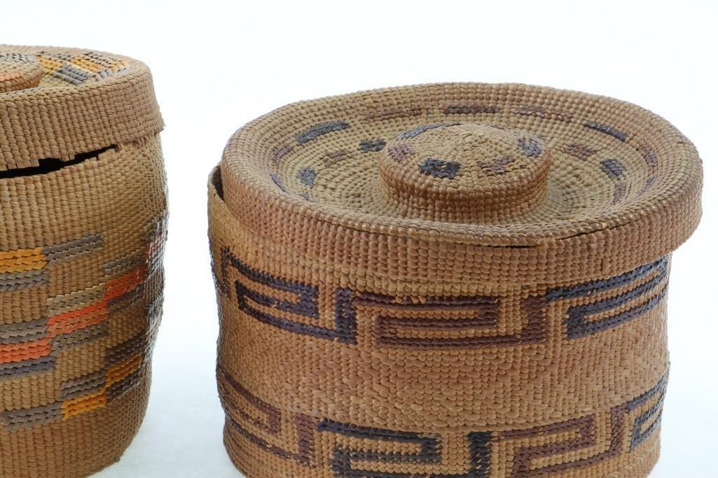 Two Tlingit lidded baskets - 8
