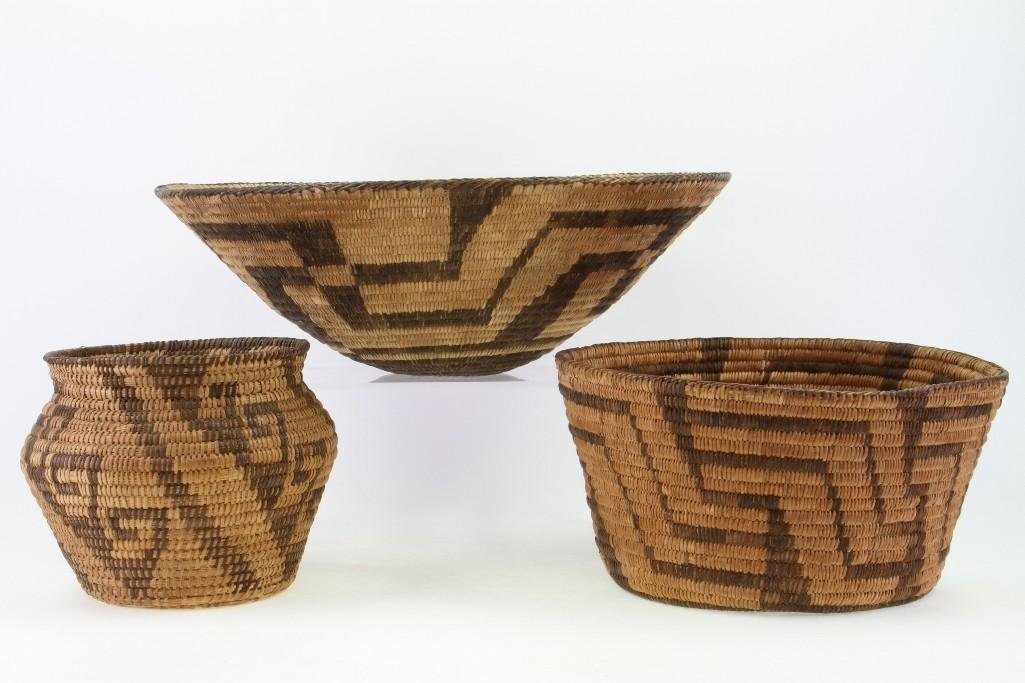 Three Pima baskets