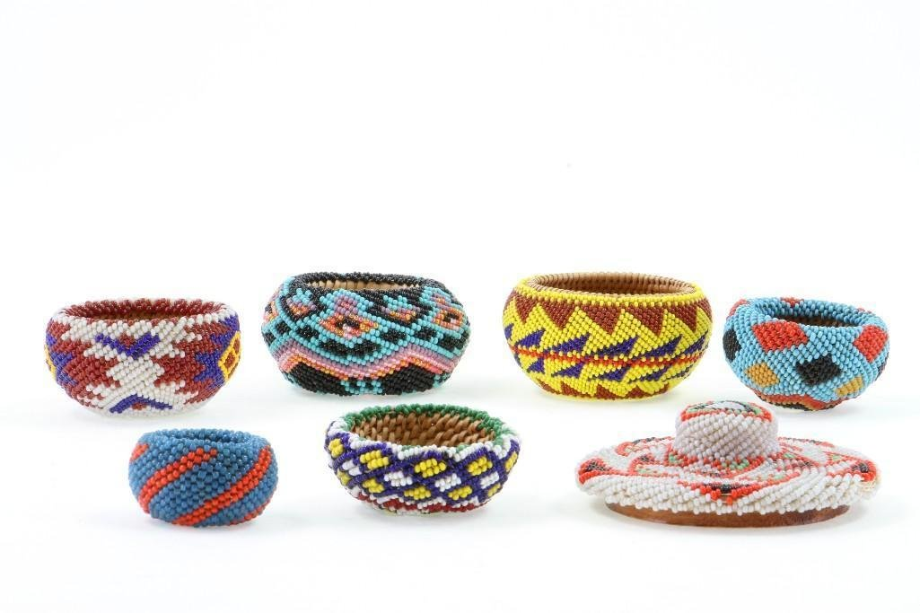 Six Paiute beaded miniature baskets