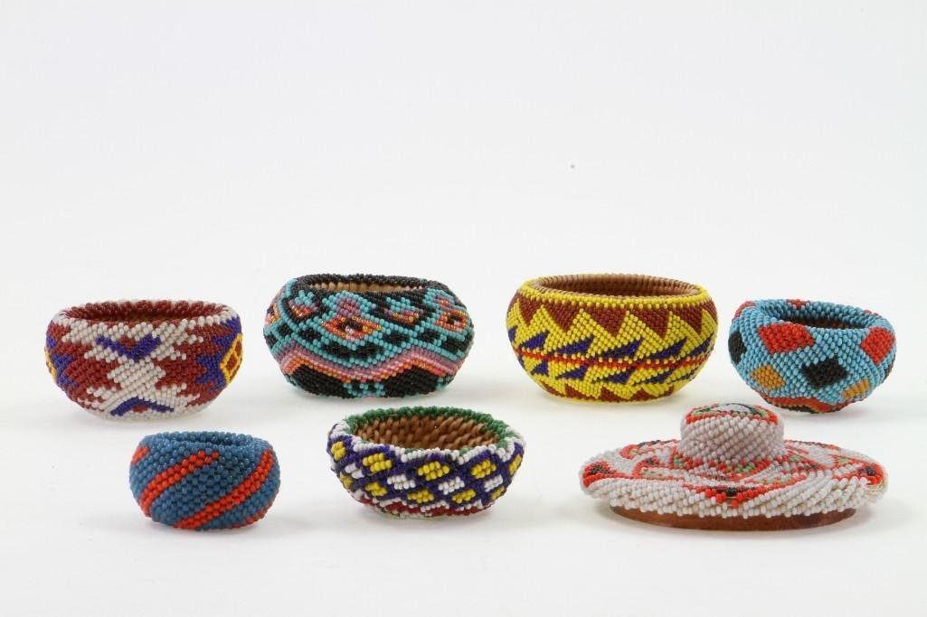Six Paiute beaded miniature baskets - 2