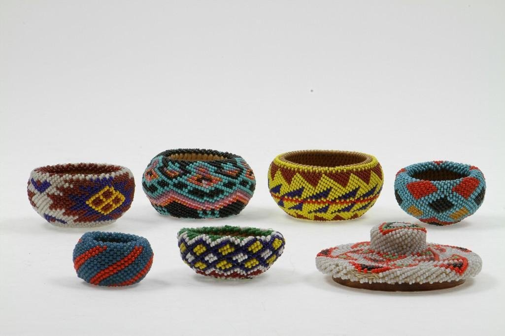 Six Paiute beaded miniature baskets - 4