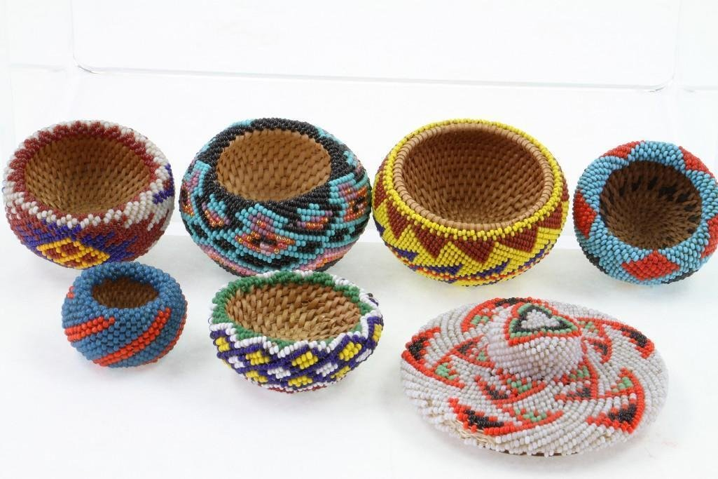 Six Paiute beaded miniature baskets - 6