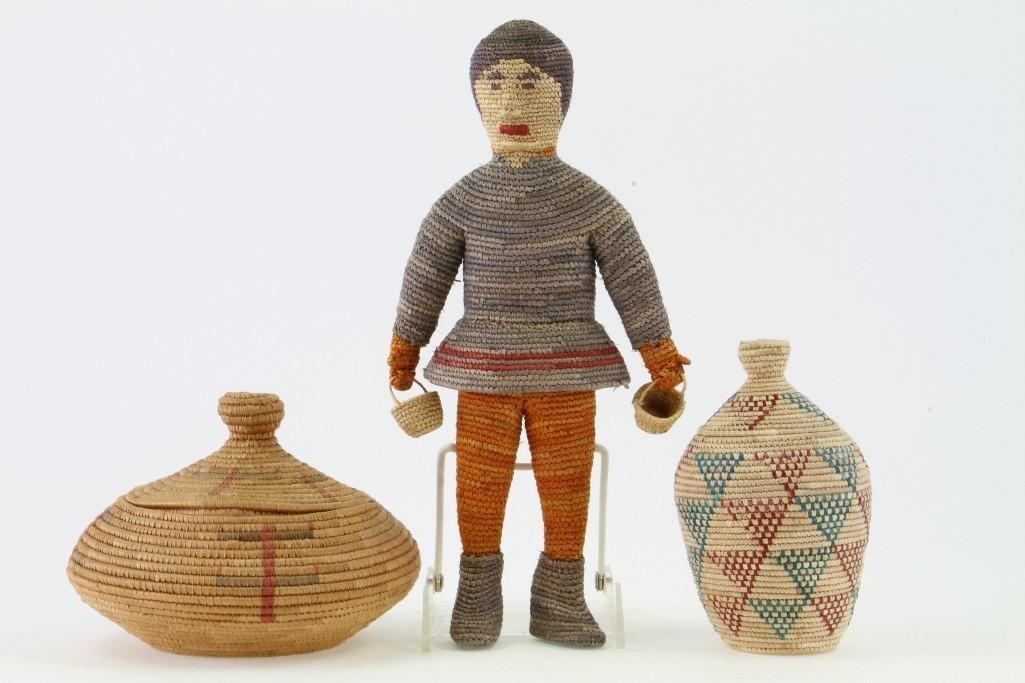 Three Eskimo basketry items