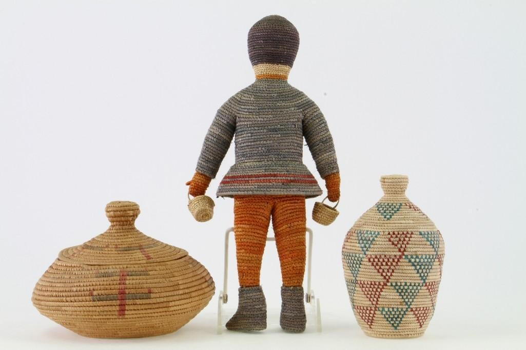 Three Eskimo basketry items - 3