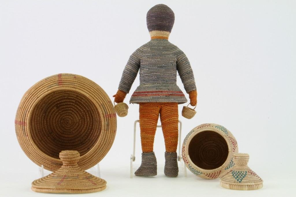 Three Eskimo basketry items - 4