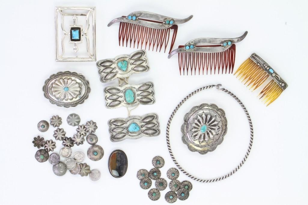 Collection of Navajo jewelry items