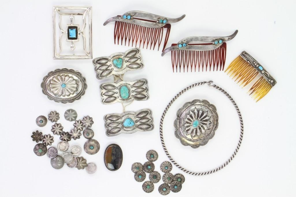 Collection of Navajo jewelry items - 2