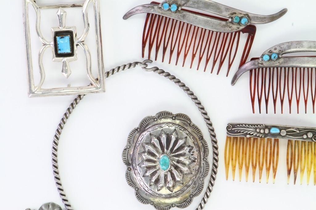 Collection of Navajo jewelry items - 5